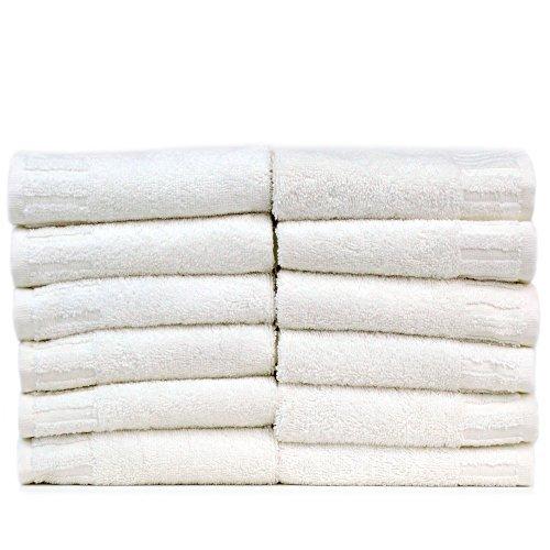Bare Cotton Luxury Hotel & Spa Towel Turkish Cotton Wash Cloths,White, Piano, Set of 12