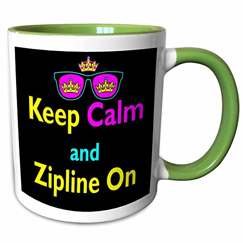 3dRose Dooni Designs CMYK Hipster Designs - CMYK Keep Calm Parody Hipster Crown And Sunglasses Keep Calm And Zipline On - 11oz Two-Tone Green Mug - Sunglasses 7 Line