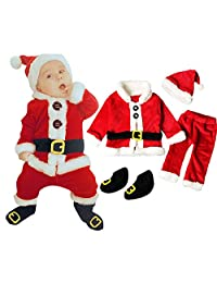 Baby Boys Girls Infant Newborn My First Christmas Outfit Santa Clothes 4Pcs/set