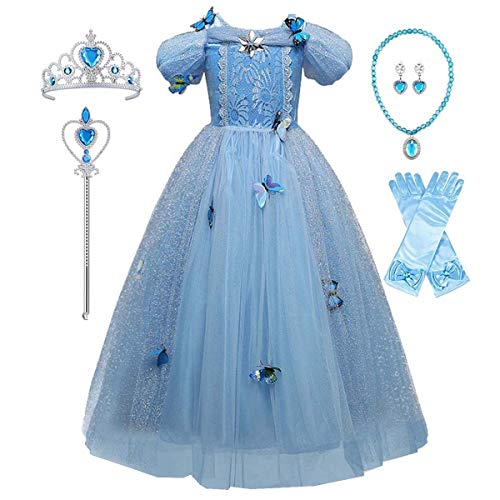Girls New Cinderella Costume Dress Princess Girls Birthday Party Cosplay Outfit with Accessories]()