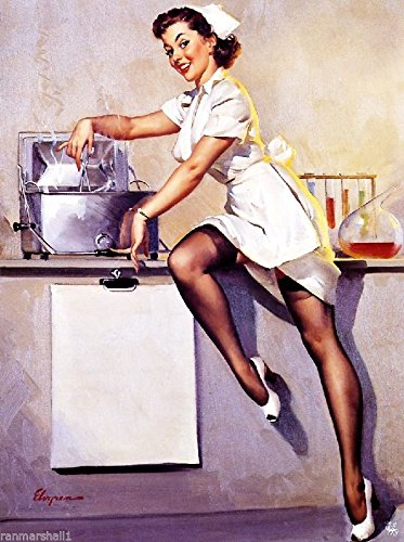 [1940s Pin-Up Girl Do You Need a Nurse? Picture Poster Print Art Pin Up. Poster measures 10 x 13.5] (1940s Pin Up Girl)