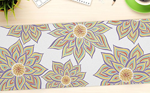 "KESS InHouse Pom Graphic Design ""Floral Dance"" Office Desk Mat, Blotter, Pad, Mousepad, 13 x 22-Inches"