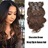 "SHOWJARLLY #4 Chocolate Brown Wavy Clip in Hair Extensions Human Hair 20"" Body Wave Clip in Hair Extensions 7Pcs/100g Thick Full Head Remy Clip in Human Hair Extensions"
