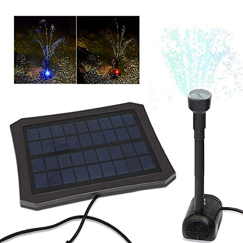 Teepao Solar Water Fountain Pump LED Color Changing Decorative Garden Water Pump, Inbuilt Battery, Efficient Solar Panel, Suitable for Garden and Patio
