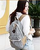 WenHong Fashion Women Ladies Girls Rucksack Backpack Canvas Blue Stripe Leisure Travel Book Bag