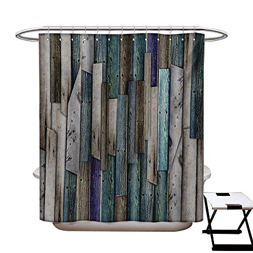 Wooden Shower Curtains Fabric Blue Grey Grunge Rustic Planks Barn House Wood and Nails Lodge Hardwood Graphic Print Bathroom Decor Set with Hooks W48 x L84 Gray Blue