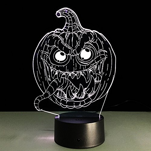 Pumpkin Halloween Led Night Light 3D Table Lamp 7 Color RGB Changing for Xmas -