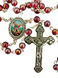 Red Glass Prayer Bead Saint Michael Rosary with Heart Detailed Crucifix, 14 Inch