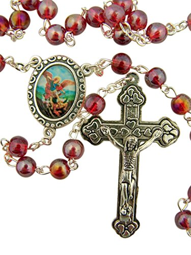 DTC Red Glass Prayer Bead Saint Michael Rosary with Heart Detailed Crucifix, 14 Inch