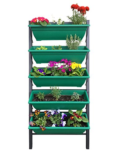 Outland Living 4-Ft Vertical Garden Freestanding Raised Elevated Bed Planter for Patio Yard Deck Balcony Cascading Water Drainage to Grow Vegetables Herbs Flowers Succulents, with 5 Container Boxes