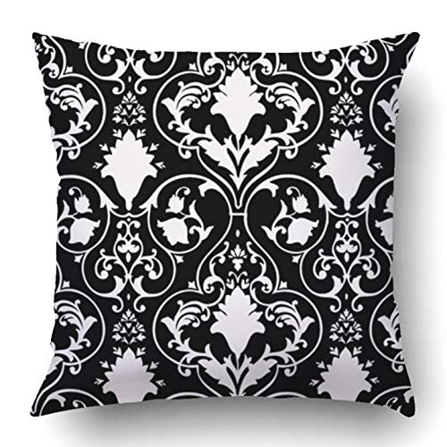 Jidmerrnm Throw Pillow Covers Black Fleur Antique Scroll White Lis LYS Damask Victorian Baroque Abstract Rococo Polyester 18 X 18 Inch Square Hidden Zipper Decorative Pillowcase