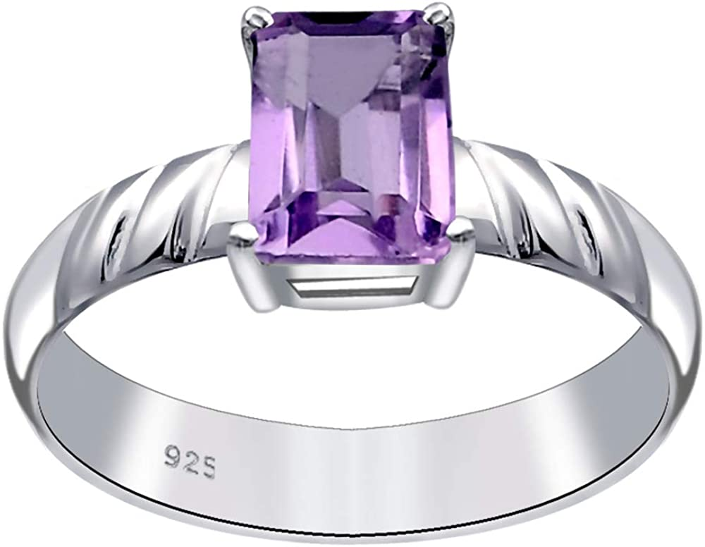 Emerald-Cut Purple Amethyst by Orchid Jewelry Solitaire Sterling Silver Ring 1 Ct