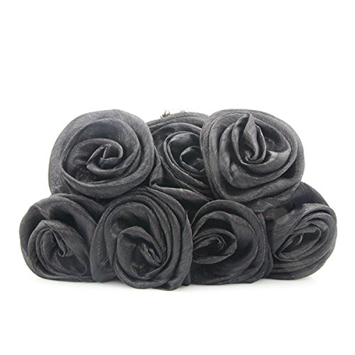 Color Sólido Flores Tridimensionales Bolso Pequeño Hombro Bolso Del Mensajero Bolso Nupcial Bolso De La Boda Salvaje Bolso De Tarde Black