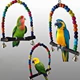 Rubyyouhe8 Bird Accessories&Colorful Bird Toy Parrot Swing Cage Stand Frame Cockatiel Budgie Hanging Hammock Colorful Bird Parrot Toys Hanging Toy for Parakeets Cockatiels Small Pet