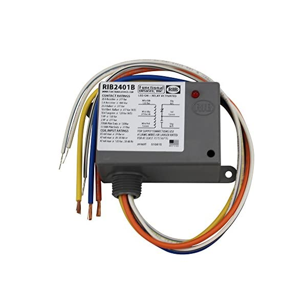 Functional Devices RIB2401B Enclosed Relay, 20 Amp Spdt with 24 Vac/Dc/120 Vac Coil