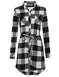 HOTOUCH Women's Trendy Belted Button Up Black White Plaid long Cotton Dress