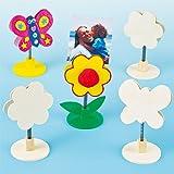 Portafoto Con Farfalla e Fiore in Legno per Bambini da Disegnare, Personalizzare ed Esporre (confezione da 4)