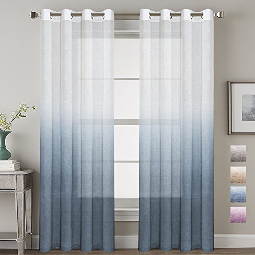 H.VERSAILTEX 52 – Inch Width by 84 – Inch Length Linen Mixed Curtains Semi Sheers for Living Room/Bedroom/Kids Room/kitchen, Nickel Grommet Top Window Panels -Set of 2, Stone Blue For Sale