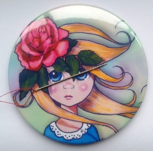 """Magnetic Needle Minder or Fridge Magnet, 3.5"""", Big-Eyed Girl with Pink Rose in Hair, Surreal, Original Art, Needle Nanny from Joyce's Art Magnets"""