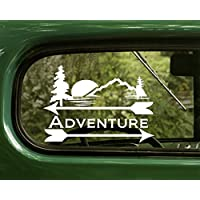 2 Adventure Outdoor Nature Decal Stickers White For Window Car Truck Laptop Bumper Rv