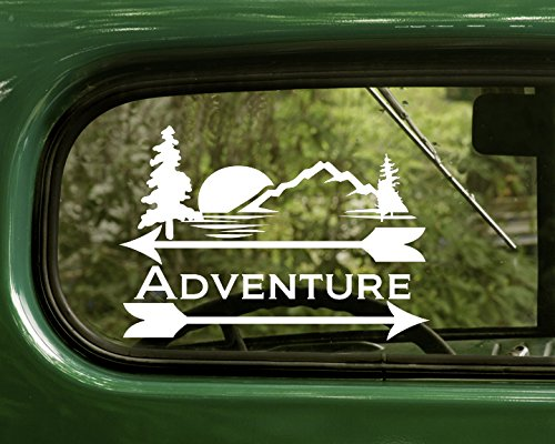 2 Adventure Outdoor Nature Decal Stickers White For Window Car Truck Laptop Bumper Rv ()