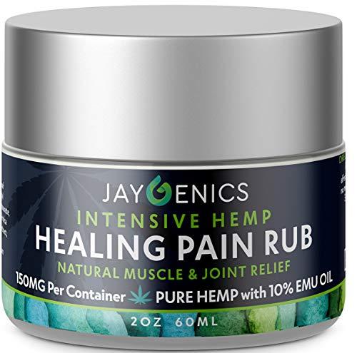JAYGENICS Hemp Oil Healing Pain Rub: Pure Organic Hemp Pain Relief Cream 150mg | Anti-Inflammatory Arthritis, Back, Knee, Hands, Joints, Neck, Feet & Muscle Soreness Hemp Cream with 10% EMU Oil | 2Oz]()