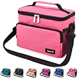 Leakproof Reusable Insulated Cooler Lunch Bag - Office Work School Picnic Hiking Beach Lunch Box Organizer with Adjustable Shoulder Strap for Women,Men and Kids-Pink