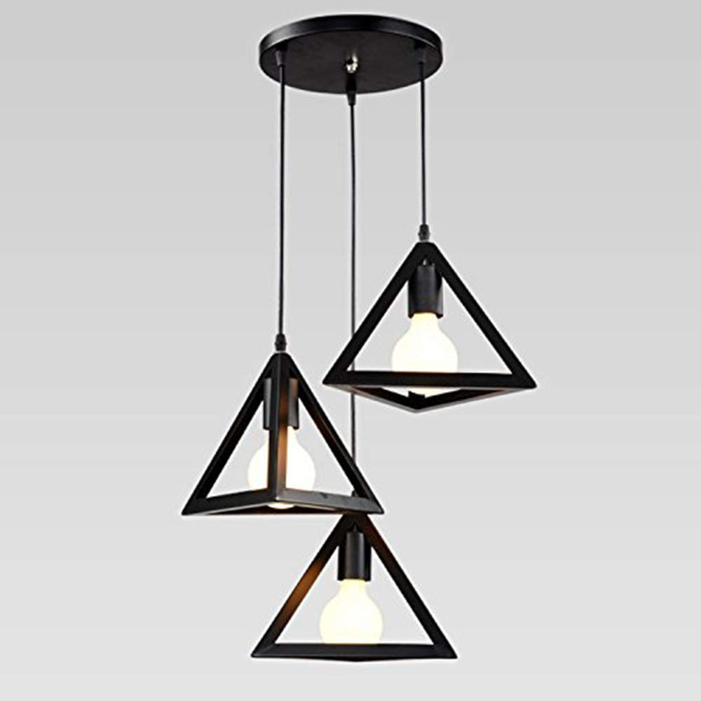 MJW Vintage Pendelleuchte, Kreative Geometrie Hängelampe Mit 3 Flammen Für Loft Bar Cafeteria Wohnzimmer