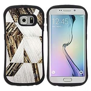 "Pulsar iFace Series Tpu silicona Carcasa Funda Case para Samsung Galaxy S6 EDGE , Líneas del patrón oro blanco"""