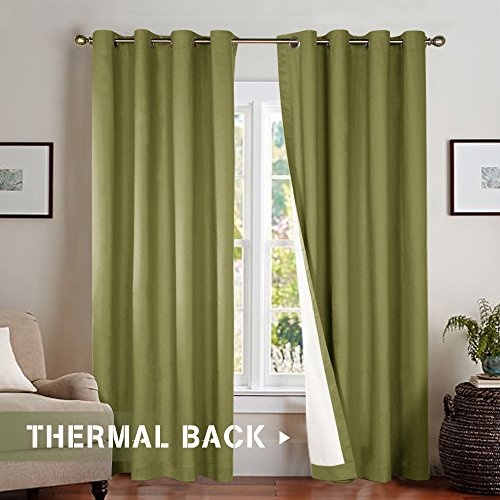 Room Darkening Blackout Curtains for Sliding Glass Door, Light Blocking Thermal Lined Curtains for Bedroom / Living Room Window Curtain 95 Inches Long, Olive Green, Grommet Top, 1 Panel 95 Green