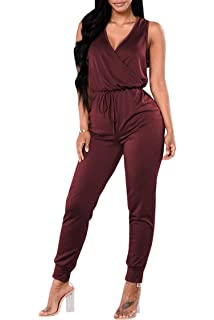 45e9b18ad54 Fixmatti Women Deep V Neck Drawstring Waisted Long Pant Jumpsuit Set 1PC