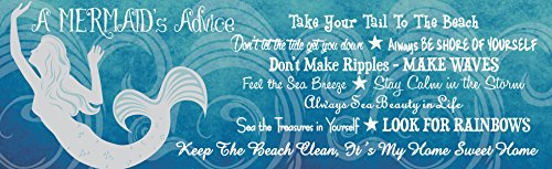 Advice from a Mermaid Inspirational Sign in Blue with Beach Quotes & Mermaid Silhouette in White – Fun Sign Factory Original Ocean Decor