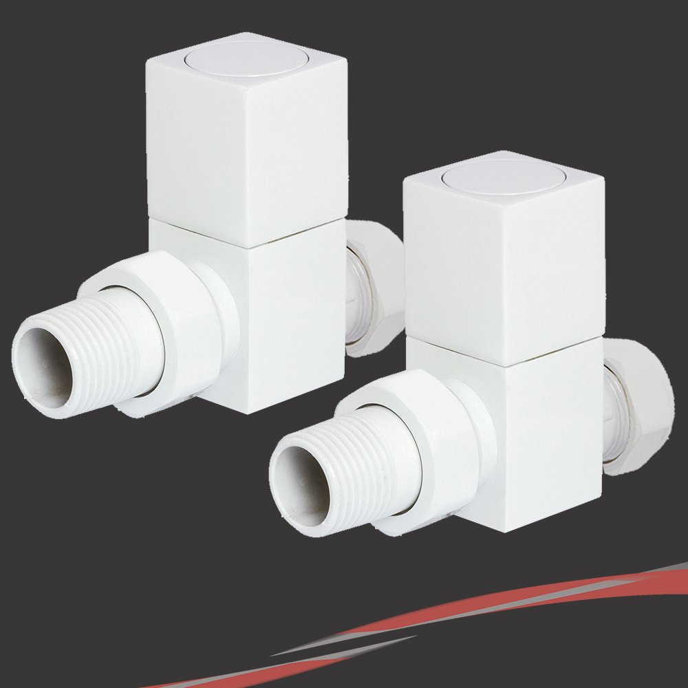 Straight White Square (Cubic) Valves for Radiators & Towel Rails NWT Direct
