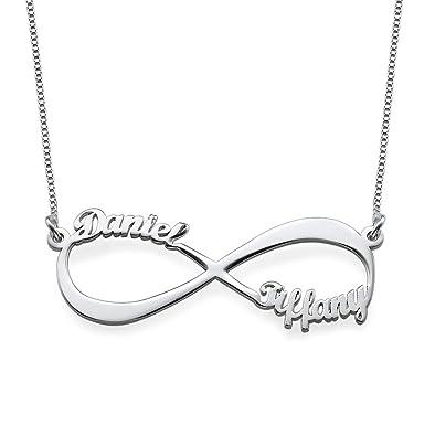 aceb5aa2793b Collar Infinito Nombre Parejas de Plata - Personalizado con cualquier nombre   Amazon.es  Joyería