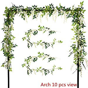 Greentime 2Pcs Artificial Flowers 6.6ft/Piece Silk Wisteria Ivy Vine Green Leaf Hanging Vine Garland for Wedding Party Home Garden Wall Decoration 32