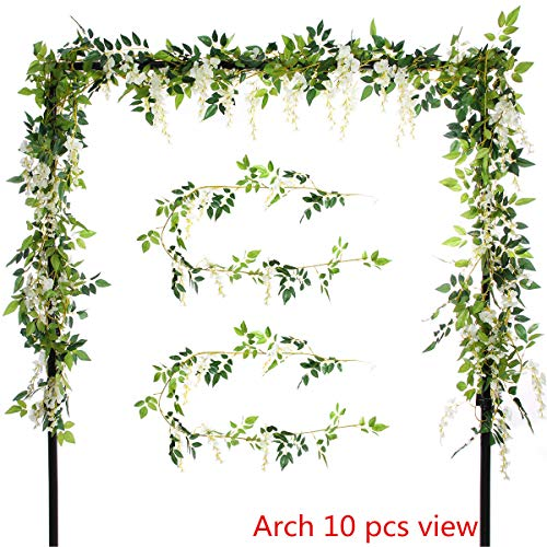 - Greentime 2Pcs Artificial Flowers 6.6ft/Piece Silk Wisteria Ivy Vine Green Leaf Hanging Vine Garland for Wedding Party Home Garden Wall Decoration