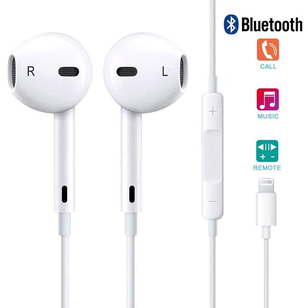 Lightning Earphones, Headphones with Microphone Lightning Earphone and Noise Isolating headset Made For iPhone8/8 plus iPhone7/7 plus and iPhone X Earbuds Earphones (Bluetooth Connectivity)