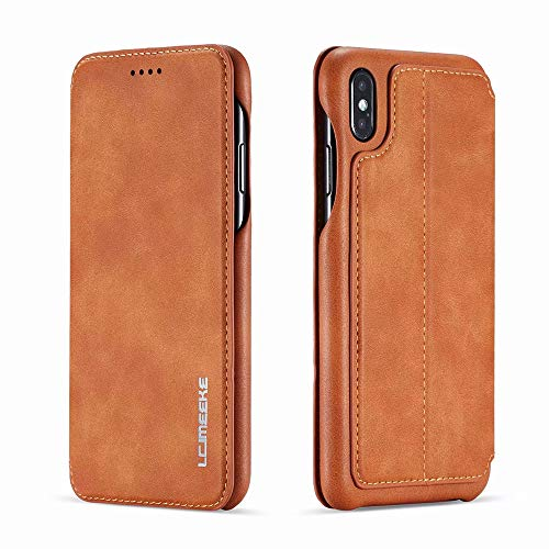 SUNLMG iPhone Xr Case Premium PU Leather Wallet Flip Phone Protective Case Cover with Card Slots for Apple iPhone Xs/XR/XS MAX,Brown,XSMAX