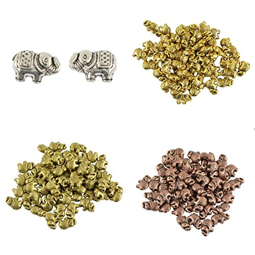 MonkeyJack 200 Pieces Alloy Metal Elephant Spacer Charms Bead For Jewelry Making -