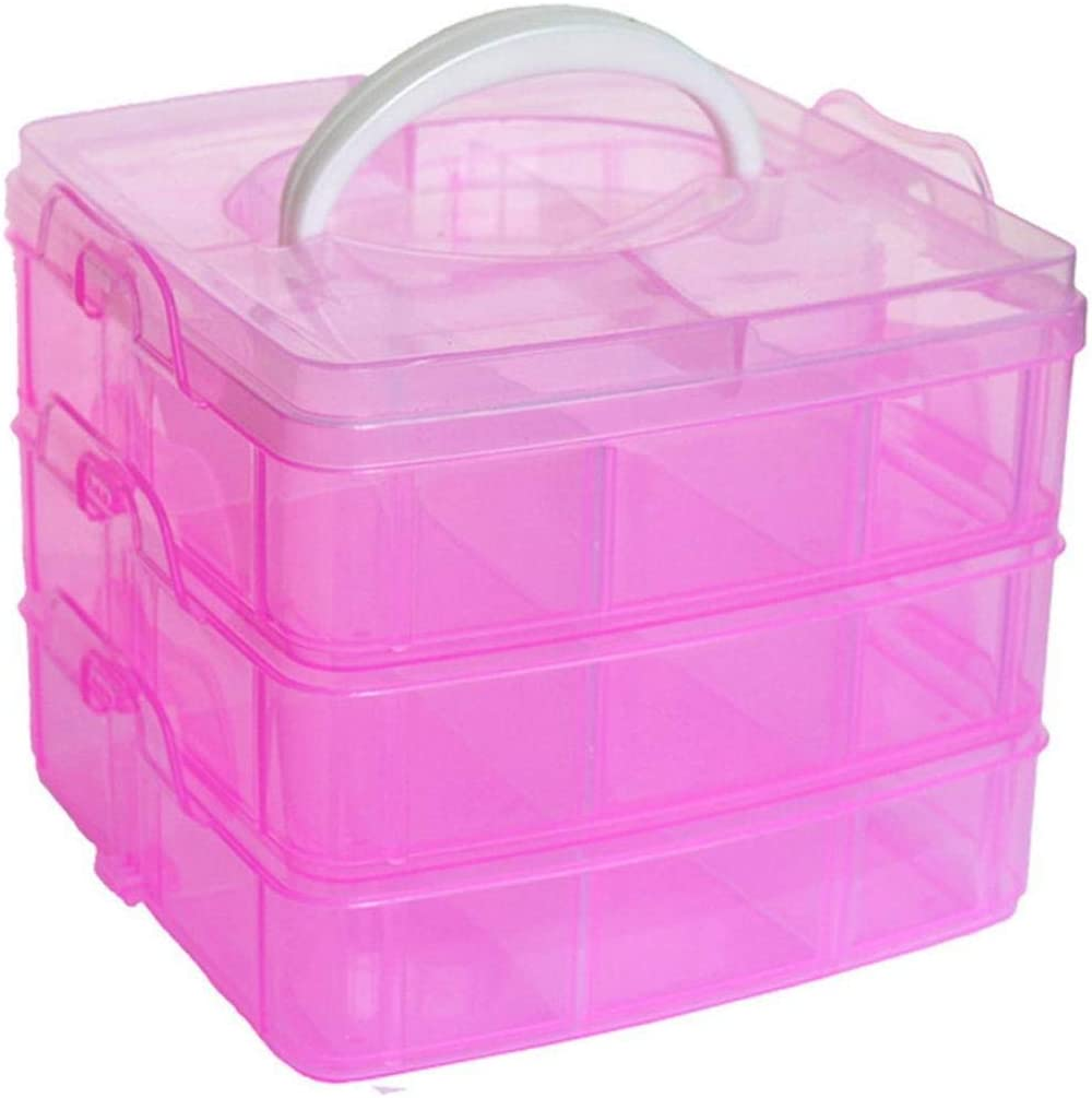2 Layer Plastic Sewing Painting Tools Storage Box Organizer with Handle Pink