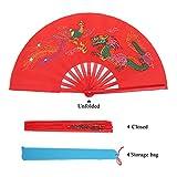 Kung Fu Fighting Fan Chinese Taichi Martial Arts Dance Bamboo Fan Dragon + Phoenix Folding Hand Fan Red