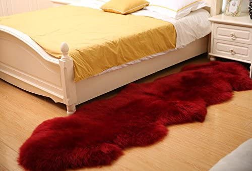 Longfeng Genuine Sheepskin Rug Wine Red Double Pelt Natural Fur – Sheepskin Rug Pad for Bedroom Living Room Double 2ft x 6ft, Wine Red