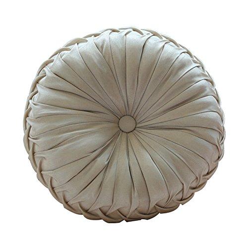 ADREAM Handmade Round Decorative Throw Pillows Faux Silk European Premium Sofa Home Floor Pumpkin Cushions with Insert 13 x 13 Inches (Cream)