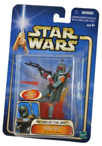 (Star Wars Year 2002 Return of The Jedi Series 4 Inch Tall Action Figure - Boba Fett at The Pit of Carkoon with Quick Draw Action, Blaster Rifle with Removable Fireblast Tip and Display Base)