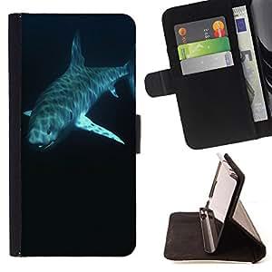 Pattern Queen - Shark Marine - FOR HTC One M9 - Funda de cuero ranuras para tarjetas de credito de la cubierta Flio tarjeta de la carpeta del tiron