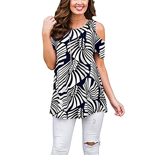(Luranee Women Tops and Blouses, Feminine Summer Shirts Short Sleeve Open Shoulder Blouses with Curvy Hem Stylish Fasion Tunics O Neck Tees Navy Blue and White L)