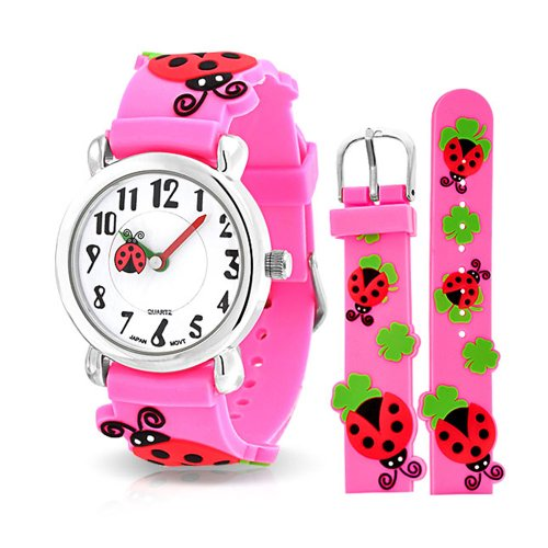 Bling Jewelry Good Luck Red Ladybug Waterproof Wrist Watch Time Teacher Quartz 3D Cartoon Pink Silicone Wristband Round White Dial from Bling Jewelry