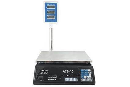 BÁSCULA ELECTRÓNICA DE COCINA PROFESIONAL DE BANCO DIGITAL, 40 KG .. DOBLE PANTALLA.