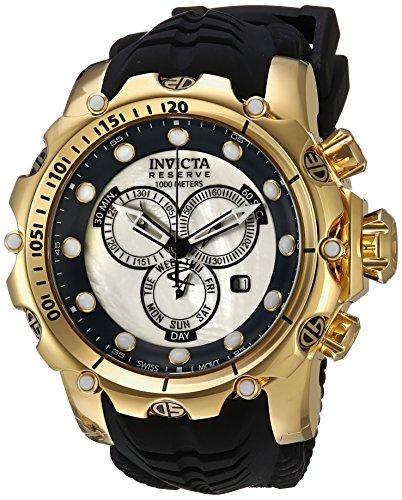 Invicta Men's Venom Stainless Steel Swiss-Quartz Watch with Silicone Strap, Black, 32 (Model: 20400)