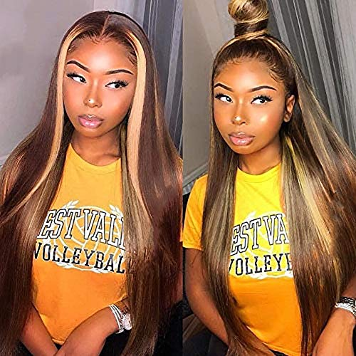 HCDIVA 13x4 Long Blonde Straight # 4/27 Transparent Ombre Lace Front Human Hair Wig Pre Plucked With Baby Hair Brazilian Remy Lace Wigs (20'', 4/27 ST) from HCDIVA